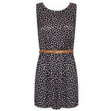 Polka Dot High Neck Belted Playsuit